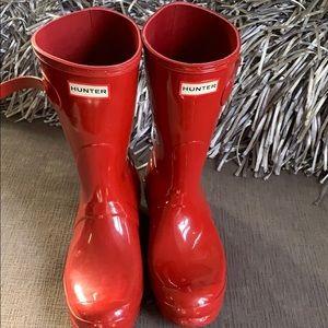 Hunter women's red boots
